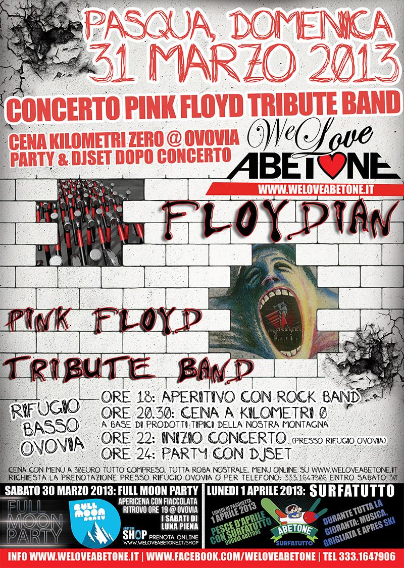 Concerto Pink Floyd Tribute Band & Cena di Pasqua @ Ovovia | 31 Marzo 2013