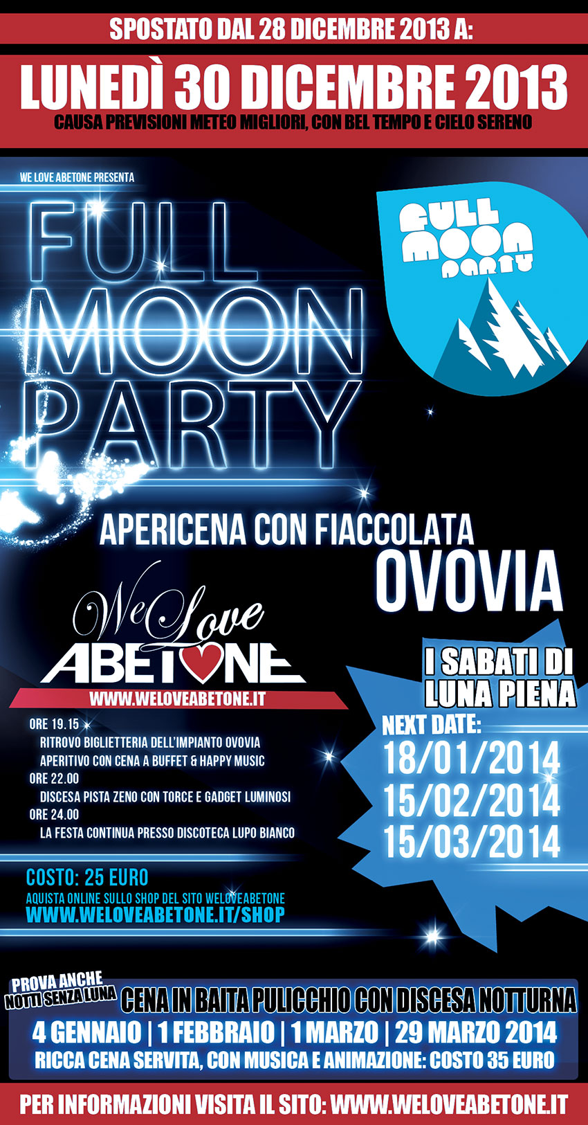full moon party we love abetone 2014