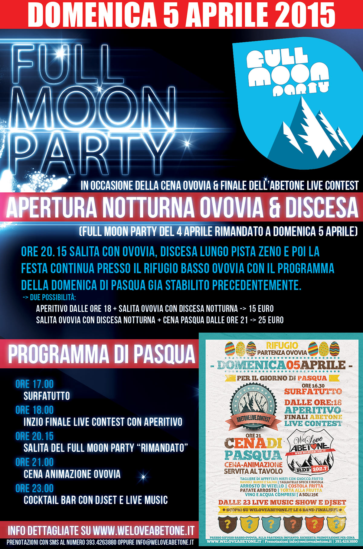 full moon party we love abetone 2015