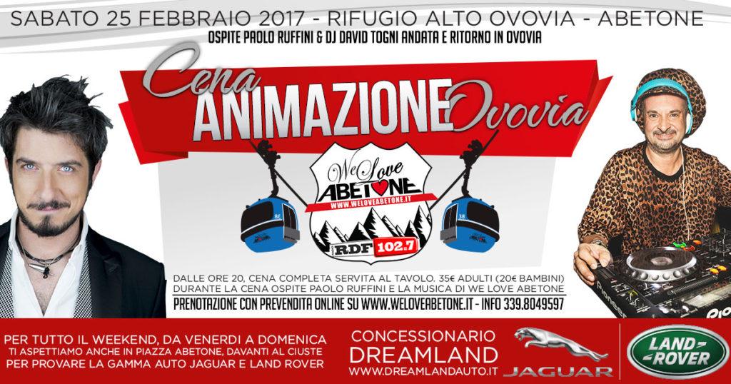 Cena Animazione Ovovia Abetone con ospite PAOLO RUFFINI - Tour  Jaguar & LandRover