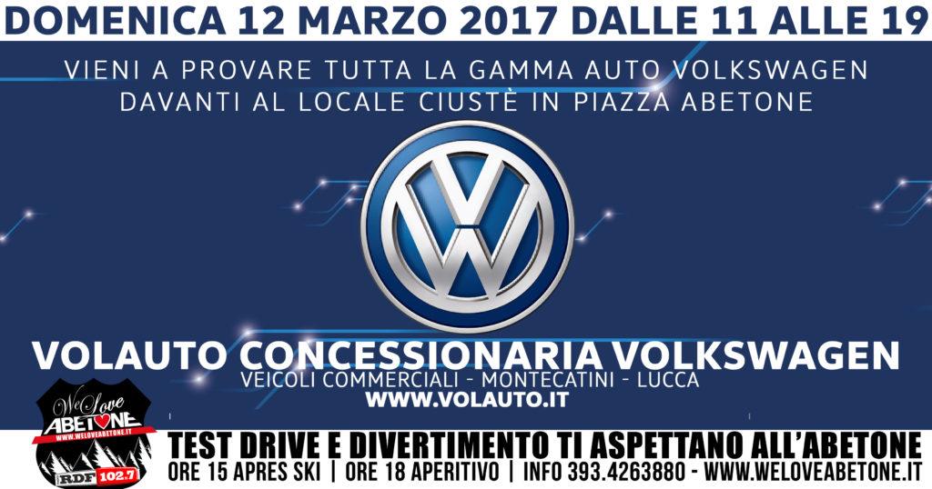 Domenica 12 Marzo 2017, dalle 11 alle 19 Test Drive Volkswagen con Volauto davanti Ciuste