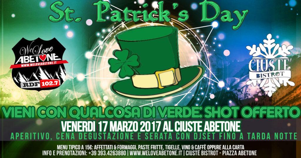 Serata di San Patrizio al Ciuste Abetone: DjSet e Vieni vestito in verde