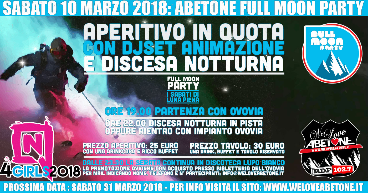 full moon party abetone 10 marzo 2018