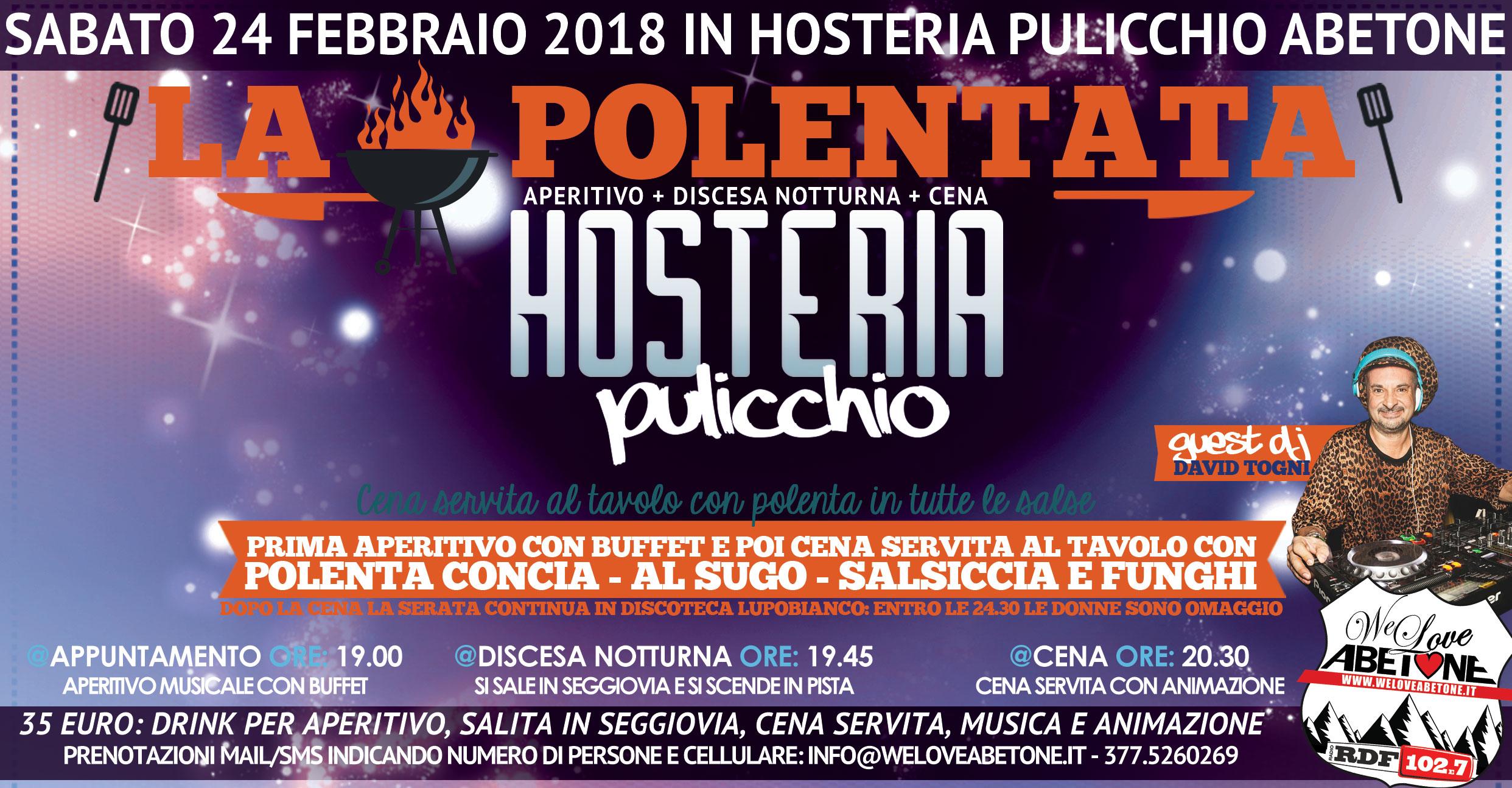hosteria pulicchio abetone polentata 24 febbraio 2018