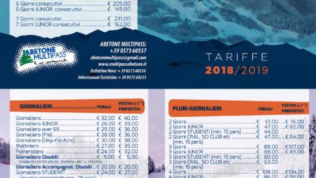 prezzi skipass abetone Multipass 2019