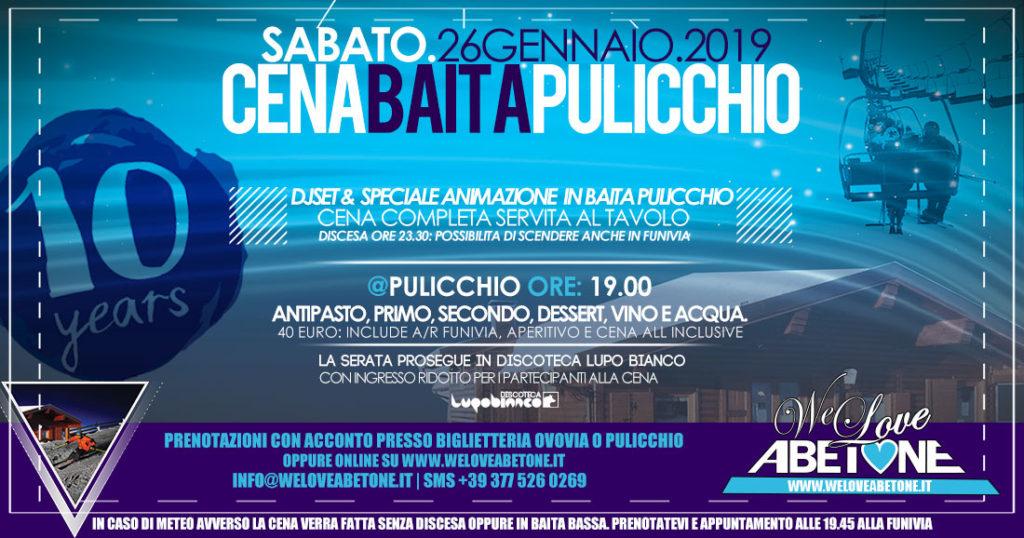 Cena Baita Pulicchio **Winter is Here**: Aperitivo, Cena e Discesa Notturna