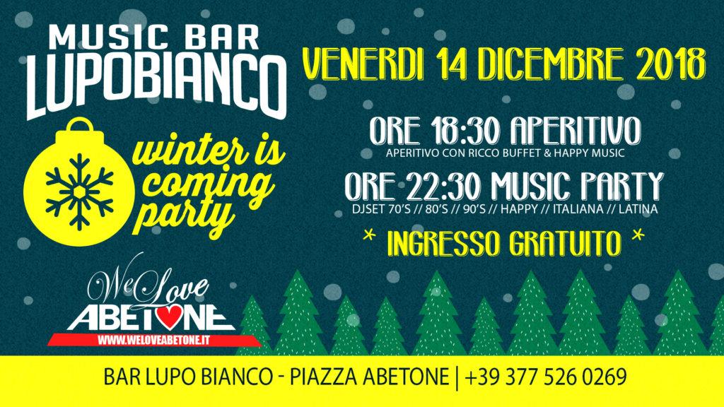 Questo Venerdì: Winter is Coming Party presso MusicBar Lupo Bianco Abetone
