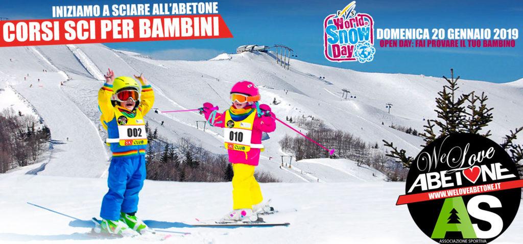 """Questa domenica: OpenDay Corso di Sci per Bambini. """"Iniziamo a sciare"""" all'Abetone"""