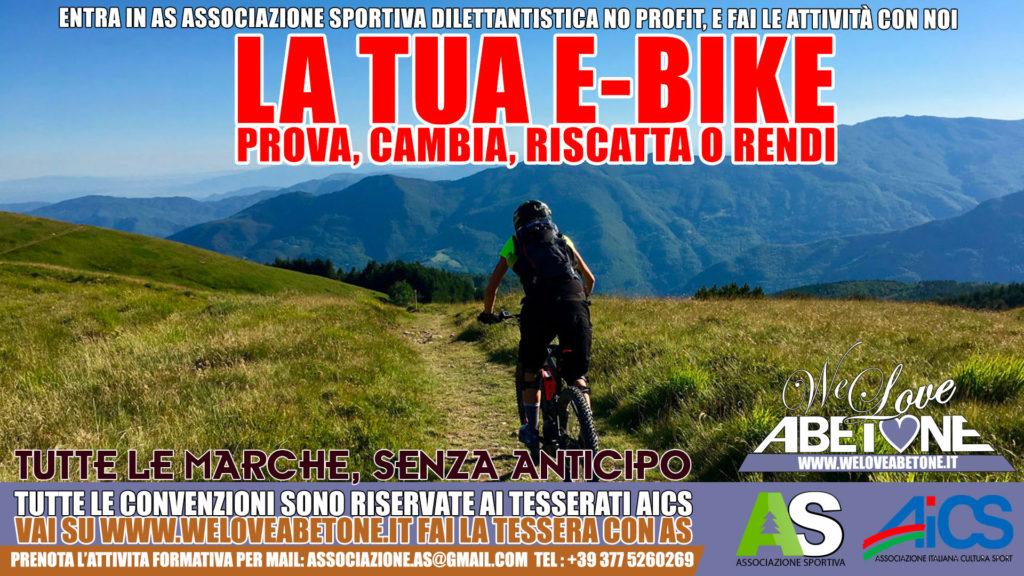 Acquisto ebike Abetone e Pistoia, la tua bici elettrica a partire da 32 euro il mese con As Associazione Sportiva. Prova, cambia, riscatta o rendi