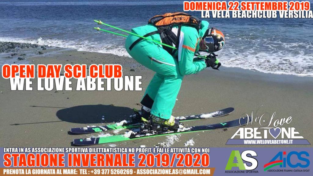 Presentazione SciClub WeLoveAbetone presso il Bagno La Vela a Lido di Camaiore: Domenica 22 Settembre 2019